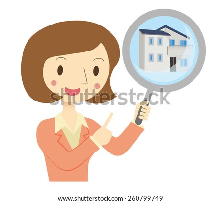 Business Woman to assess the real estate - stock vector