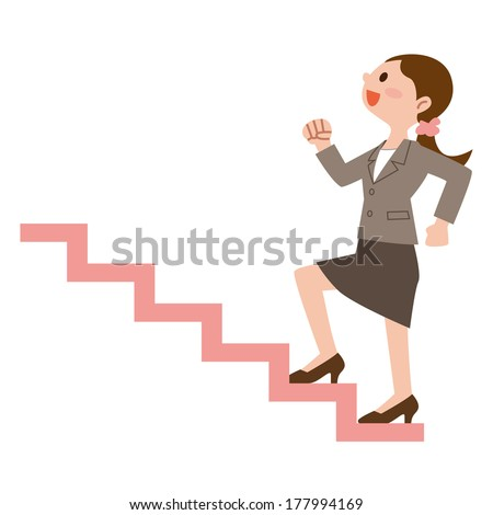 Business woman to climb the stairs - stock vector