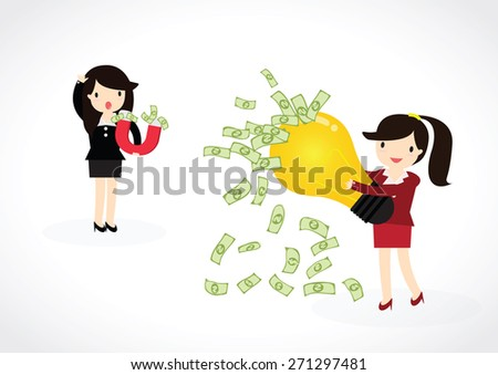 Business woman using magnet to attracts money with idea. Magnet for business. - stock vector
