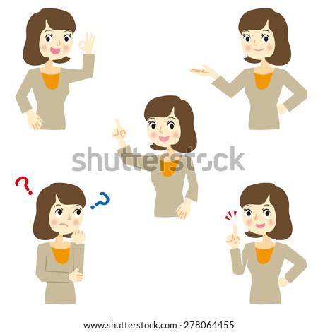 Business Woman various facial expressions - stock vector