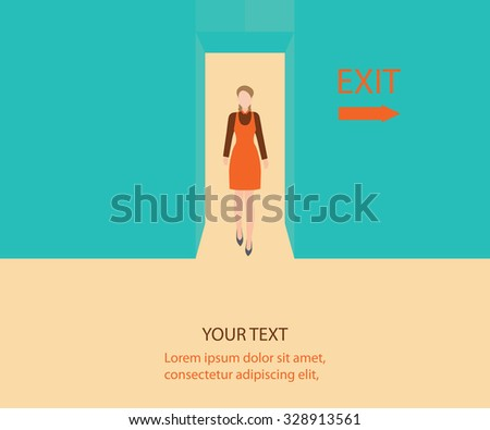 Business woman walk through a door with exit sign, Business people, conceptual vector illustration. - stock vector