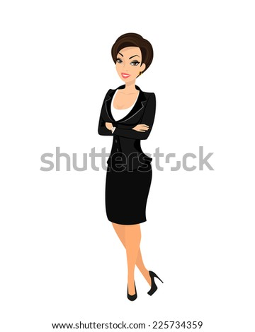 Business woman wearing black suit. Isolated on white - stock vector