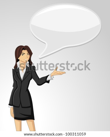 Business woman wearing suit talking with speech balloon - stock vector