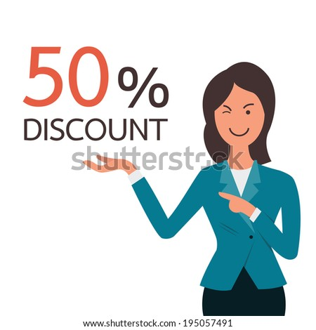 Business woman winking and presenting to 50% discount on her hand. You can change your own text or design in copyspace.  - stock vector