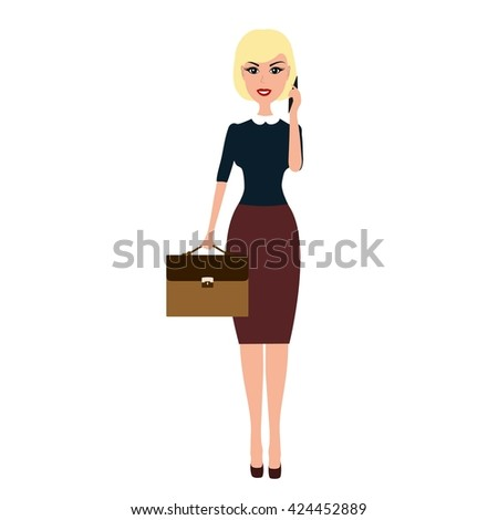 Business woman with a briefcase talking on phone. Vector Blonde business woman business woman talking on the phone isolated on white background.