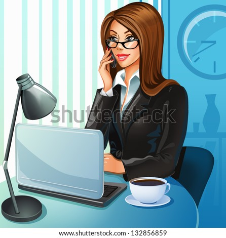 Business woman with a laptop - stock vector
