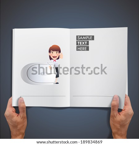 business woman with computer mouse printed on book. - stock vector