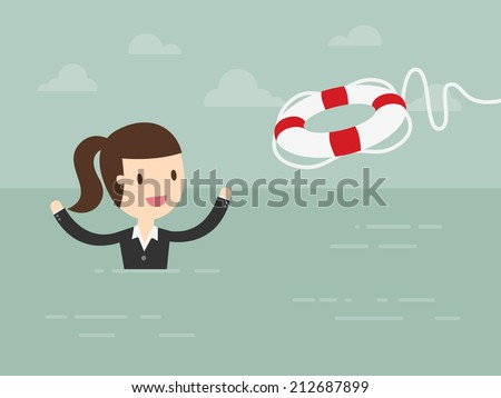 Business Woman With Life Preserver - stock vector