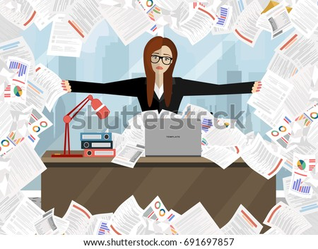 Business woman pile paper business concept stock vector 691697857 business woman pile paper business concept stock vector 691697857 shutterstock publicscrutiny Images