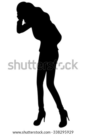 Business woman with stomach issues - stock vector