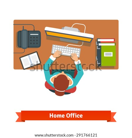 Business woman working hard sitting at the desk and typing on the desktop. Writing report. Top view flat vector illustration - stock vector