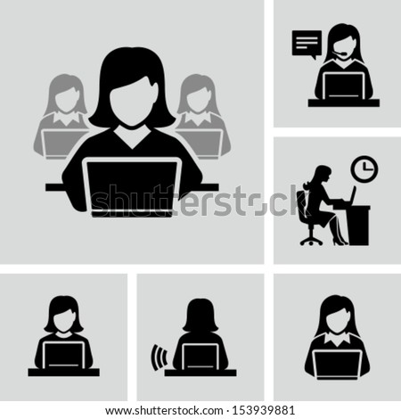 Business woman working on laptop - stock vector