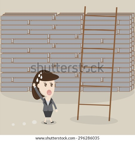 business woman worries with the big wall,Vector illustrations - stock vector