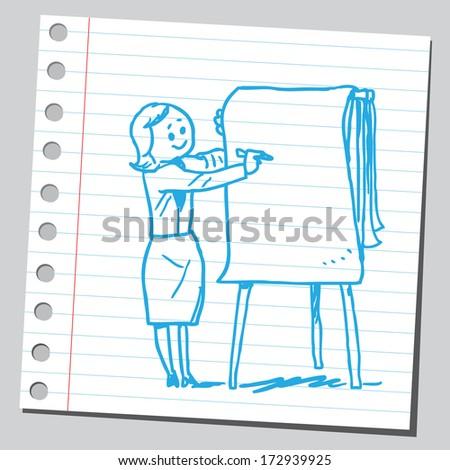 Business woman write on flipchart - stock vector