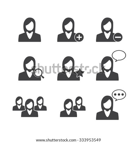 Business Women and Management icons set - stock vector