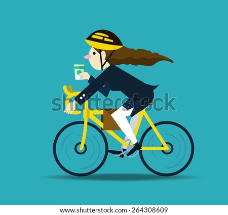 Business women cycling to work. flat design character. vector illustration - stock vector