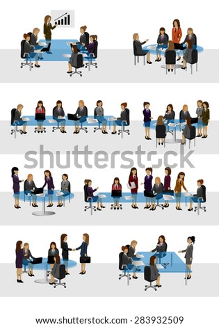 Business Women, Different Situation Set - Isolated On White Background - Vector Illustration, Graphic Design Editable For Your Design - stock vector