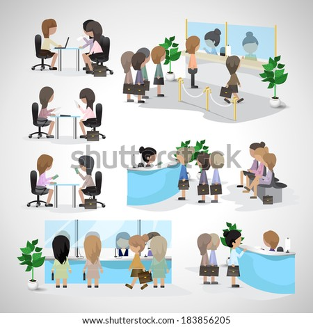 Business Women - Isolated On Gray Background - Vector Illustration, Graphic Design Editable For Your Design. Women In A Bank. Women Waiting In Line. Women In Office. Business Concept - stock vector