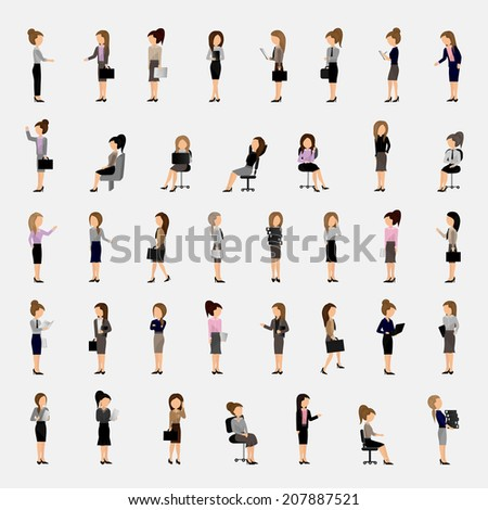 Business Women - Isolated On Gray Background - Vector Illustration, Graphic Design Editable For Your Design