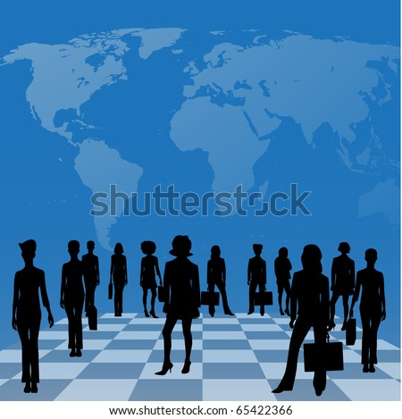 business women on a chessboard in front of a map of the world