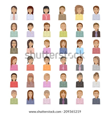 Business Women Set - Isolated On White Background - Vector Illustration, Graphic Design Editable For Your Design - stock vector