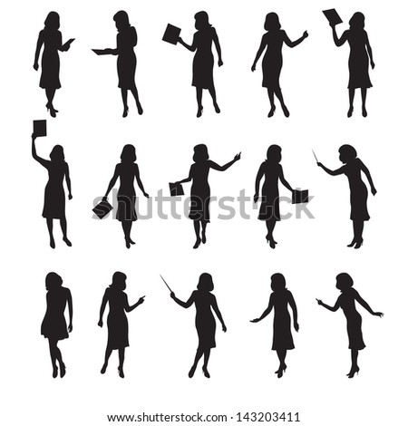 business women vector silhouettes in different poses - stock vector