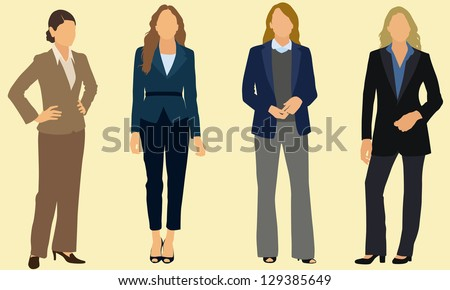 Business women wearing pants suits - stock vector