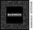 BUSINESS. Word collage on black background. Illustration with different association terms. - stock photo