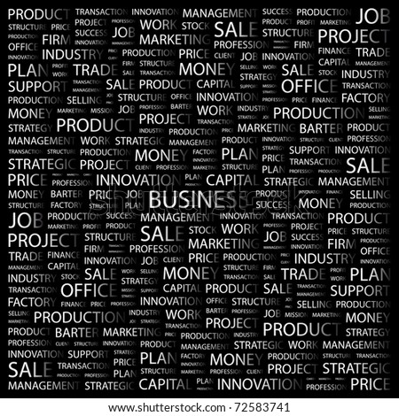 BUSINESS. Word collage on black background. Vector illustration. Illustration with different association terms. - stock vector