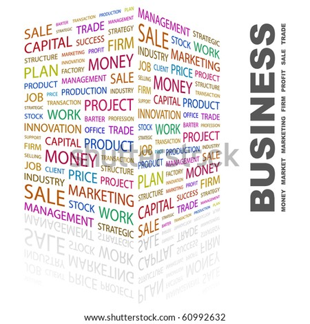 BUSINESS. Word collage on white background. Illustration with different association terms. - stock vector