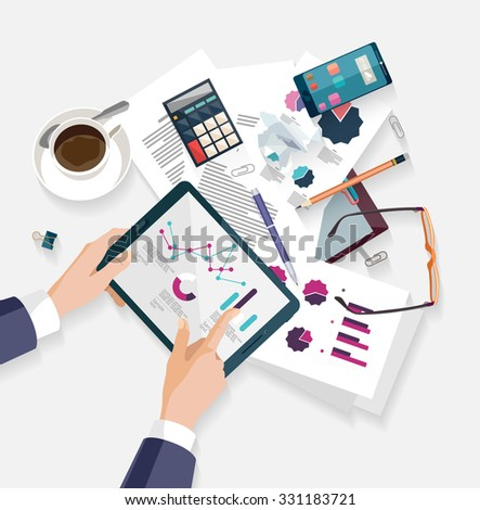 Business workplace.Flat design. - stock vector