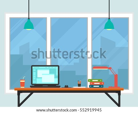 business workplace room interior with town on window. work place interior with witndow.
