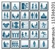 Business Workplace. Vector Icons of Business Situations - stock vector