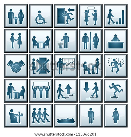 Business Workplace. Vector Icons of Business Situations