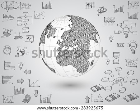Business world map globe with creative doodle graph and chart, Vector Illustration EPS 10.