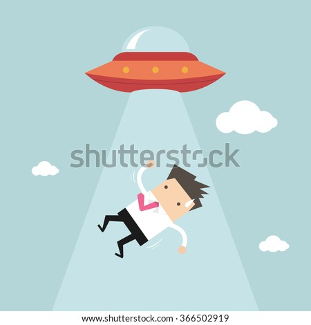 Businessman abducted by UFO - stock vector