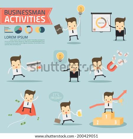 businessman activities vector - stock vector