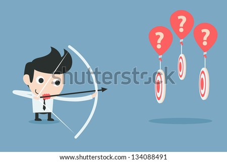 businessman aiming at target with bow and arrow - stock vector