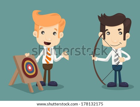 Businessman aiming at target with bow and arrow , eps10 vector format - stock vector