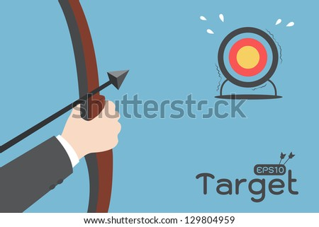businessman aimming target - stock vector
