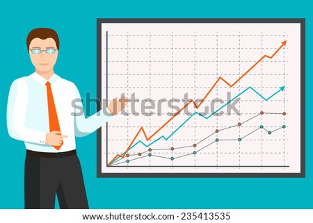 Businessman analyzing financial graphs - stock vector