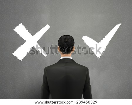 businessman and a choice of yes or no over grey - stock vector