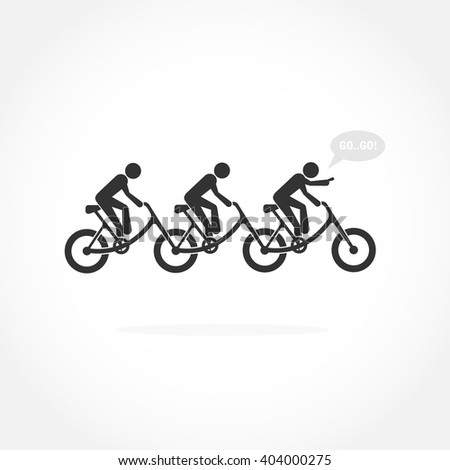 Businessman and bicycle symbol.Bicycle rider silhouette sign.Leadership and teamwork concept.Vector illustration