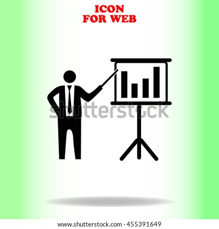 Businessman and blackboard web icon. Black illustration on white background - stock vector