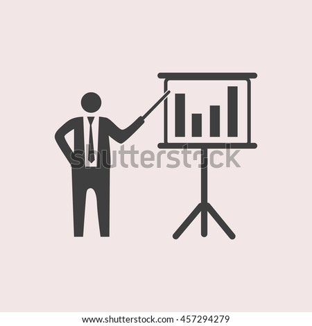 Businessman and blackboard web icon. Isolated illustration - stock vector
