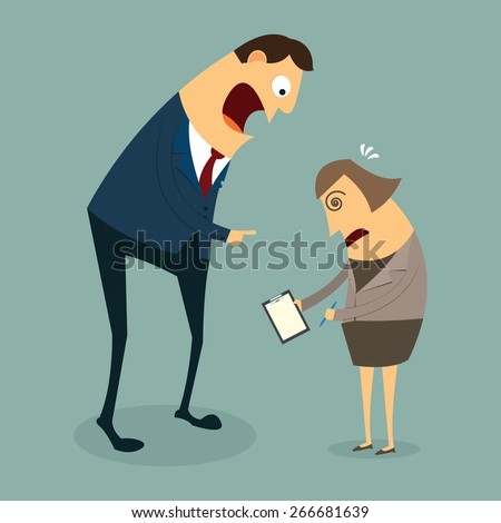 Businessman and Busibess woman. Angry boss concept, vector - stock vector