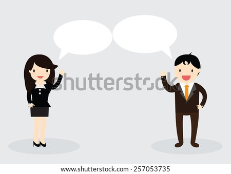 Businessman and Business woman are talking together. Can write your message in the copy space