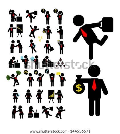 Businessman and Business Woman Pictogram. Smooth vector business people activity, easy to edit. Good use for your web icons, symbol, or any design you want. - stock vector