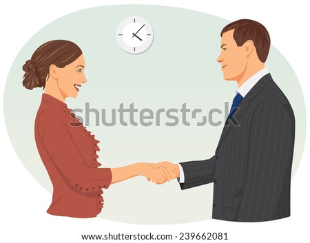Businessman and businesswoman are shaking hands in the office - stock vector