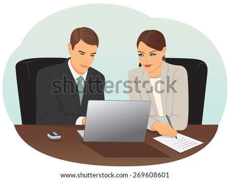 Businessman and businesswoman are working with a laptop in the office - stock vector